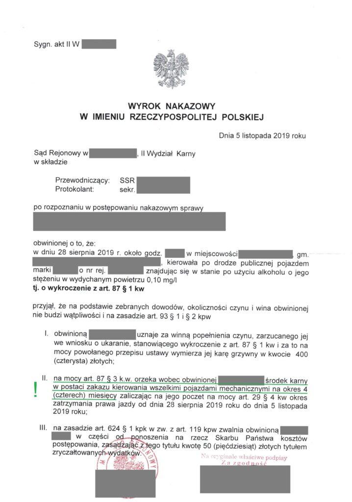 Wyrok nakazowy - podkreślenie co do środka karnego